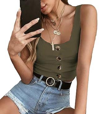 1dd1dd86ba2 Yayu Women s Sleeveless Vest Button Front Crop Tank Top Ribbed Knit Belly  Shirt ...