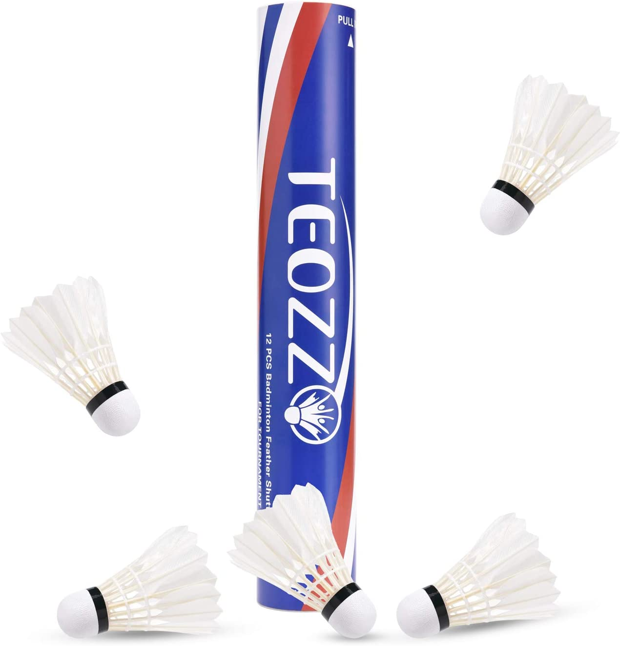 TEOZZO Goose Feather Badminton Shuttlecocks Pack of 12, Stable and Sturdy High Speed Badminton Shuttles, Training Shuttlecock for Indoor and Outdoor ...