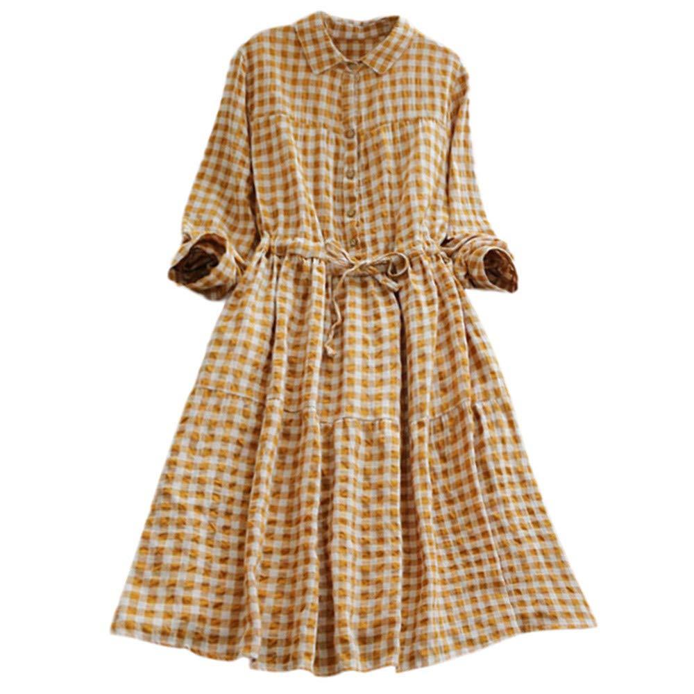 Hot Sales,DEATU Womens Dresses Ladies Teen Classic Plaid Tunic Button Down Long SleeveShirt Dress(Yellow,M)