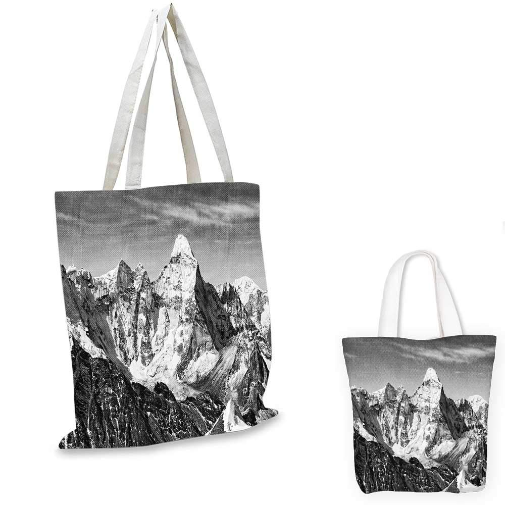 Black and White Decorations canvas messenger bag Dramatic View Mountains Himalayas Peak Landscape Travel canvas beach bag Black White Grey 12x15-10