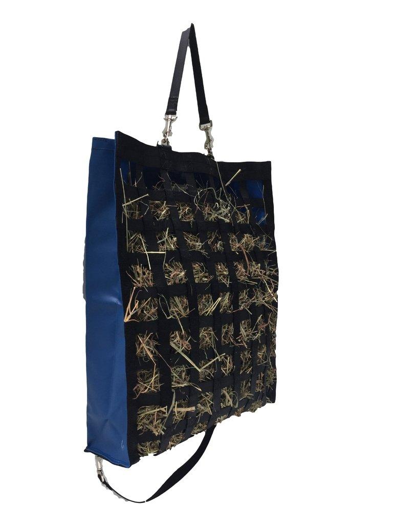 The Original NibbleNet 6'' deep w/ 2'' Slow Feed Hay Bag by Thin Air Canvas, Inc. = Blue