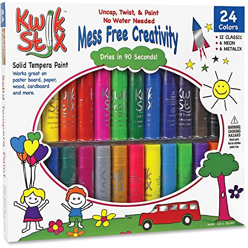 Pencil Grip Kwikstix Solid Tempera Paint 24ct, Super Quick Drying, 12 Classic, 6 Neon, 6 Metallix Colors - Drying Paint Fast