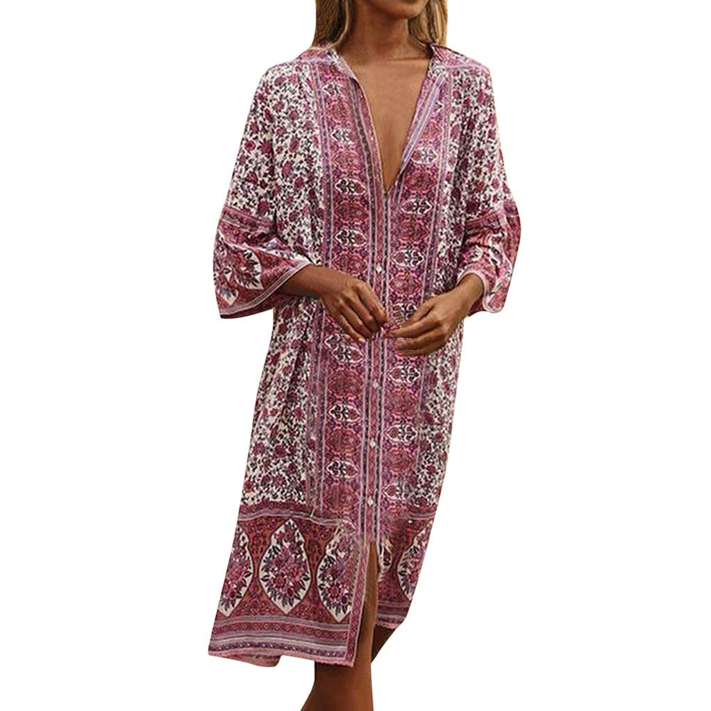 Challyhope Women Summer Maxi Boho Ethnic Print Button Caftan Sexy V-Neck Beach Cover up Flare Sleeve Loose Dress (XXL, Red)