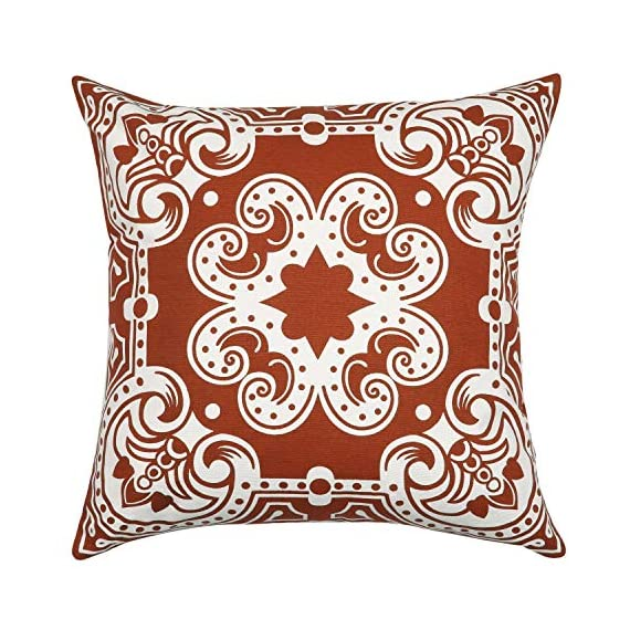 Light & Pro Square Printed Cotton Cushion Cover,Throw Pillow Case, Outdoor Cushion Covers,Slipover Pillowslip for Home, Sofa, Couch,Bed, Chair Back Seat, Set of 4-18x18 inch - Rust - Only Cover - VALUE PACK:Each pillow cover size is 18x18 inch/45x45cm (0.5-1cm deviation). Package contains only Pillow Cover and no inserts included. STYLE : Four different patterns make the entire pillow cover full of fashion and illuminate your home. CONSTRUCTION : The pattern of the cushion covers same on both side. The invisible zipper is easy to placement and removal. - patio, outdoor-throw-pillows, outdoor-decor - 61y1NkRG2yL. SS570  -