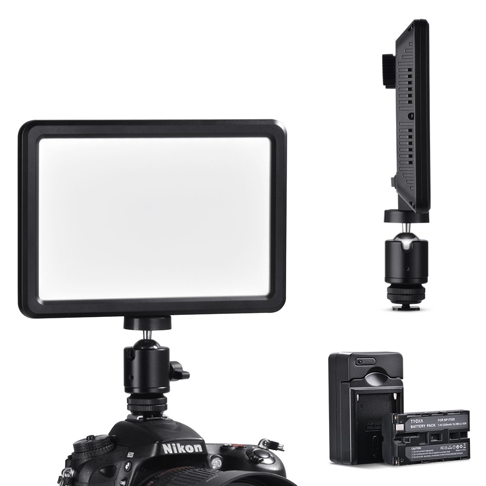 TYCKA Camera Ultra-thin Portable 104 Led Video Light with 2200mAh Battery, 16w Stepless Dimmable Lamp lighting Panel, 3000k-6000k, with Battery Charger, 1/4 Screw, No Ghosting, No Glaring, for DSLR DV