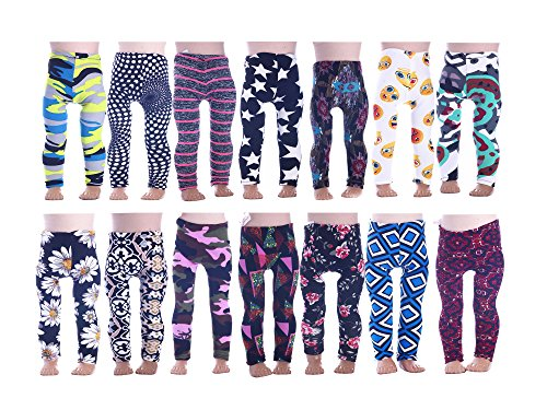 LuckDoll 7Pcs Colorful Girl Doll Leggings for American Girl Dolls ans Other 18 inch dolls]()