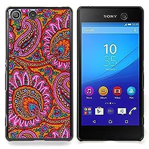 For Sony Xperia M5 E5603 E5606 E5653 Case , Patrón Alfombra india Flores rosas - Diseño Patrón Teléfono Caso Cubierta Case Bumper Duro Protección Case Cover Funda