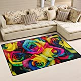 WellLee Area Rug,Colorful Tinted Roses Rainbow Flower Floor Rug Non-Slip Doormat for Living Dining Dorm Room Bedroom Decor 60x39 inch