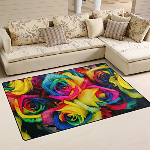 WellLee Area Rug,Colorful Tinted Roses Rainbow Flower Floor Rug Non-Slip Doormat for Living Dining Dorm Room Bedroom Decor 60x39 inch by WellLee