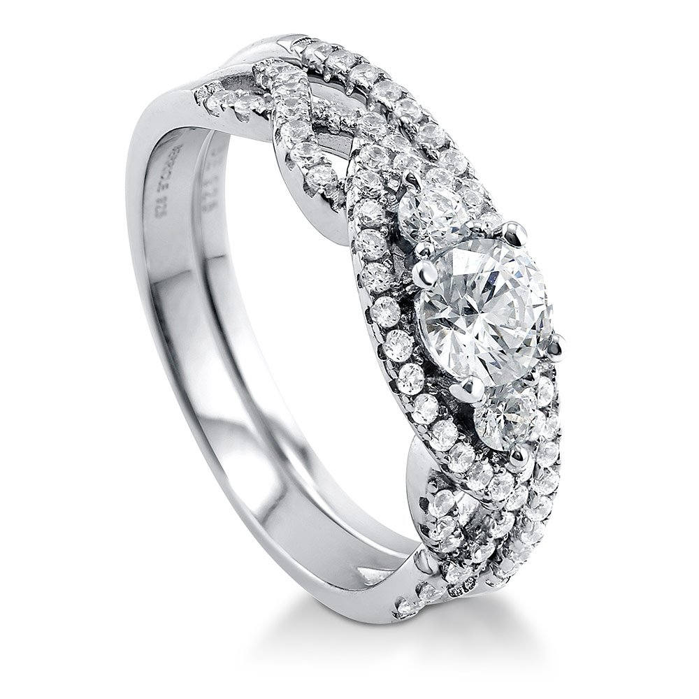 BERRICLE Rhodium Plated Silver Halo 3-Stone Woven Engagement Ring Set Made with Swarovski Zirconia Size 4