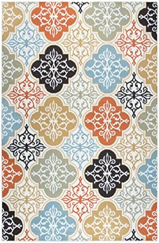Rizzy Home Xpression Collection Polypropylene Area Rug, 5 2 x 7 3 , Ivory Beige Brown Aqua Gray Orange Medallions