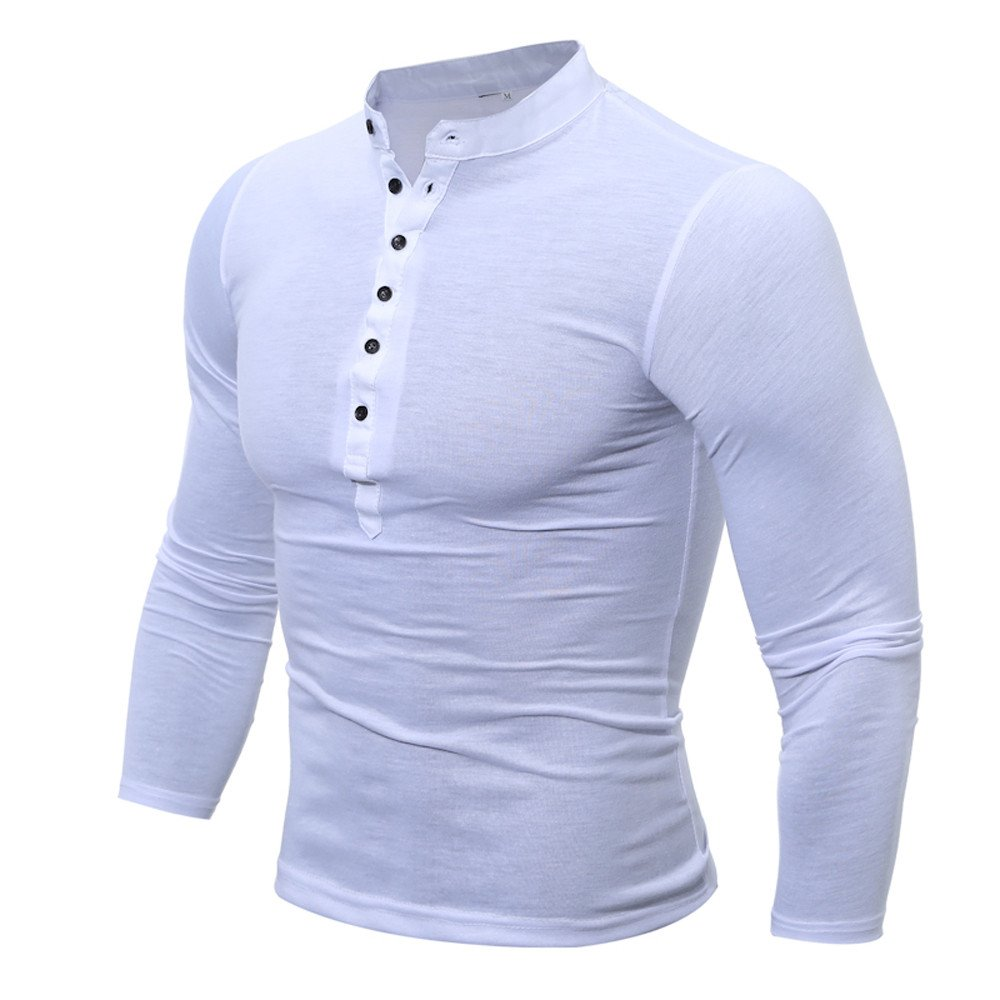 MODOQO Men's Long Sleeve Button V-Neck Solid T-Shirt Pullover Fitness Sweatshirt(White,M)