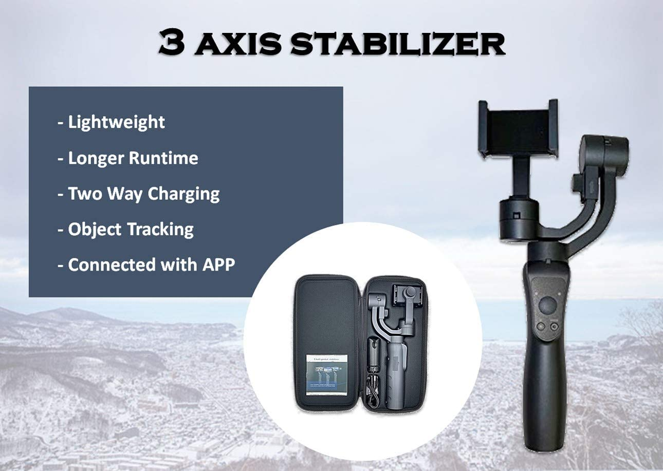 Live Streaming Selfie Android and Gopro Wiser X01 3-Axis Gimbal Stabilizer for Smartphone YouTube iPhone