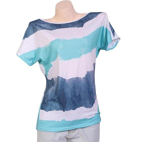 Ropa cómoda casual Diseño simple estilo Elegancia manga corta impresión de rayas más el tamaño blusa