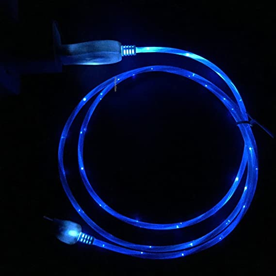 Flowing LED Glow In The Dark Light Up Visible Charging Cable 8 Pin For  IPhone 5
