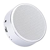 Mini Portable Speaker Portable Wireless Bluetooth Speaker with Built-in-Mic, Handsfree Call,AUX Line,TF Card,HD Sound and Enhanced Bass for iphone, ipad,PC,Cellphone(Silver)