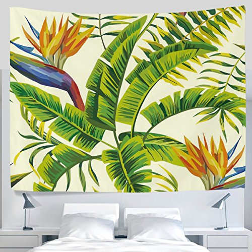 ALAZA Tropical Green Palm Leaves Painting Tapestry Wall