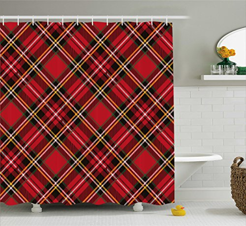 Ambesonne Retro Shower Curtain by, Diagonal Traditional Vintage Scottish Tartan Pattern Striped Checkered Geometric Tile, Fabric Bathroom Decor Set with Hooks, 70 Inches, Multicolor