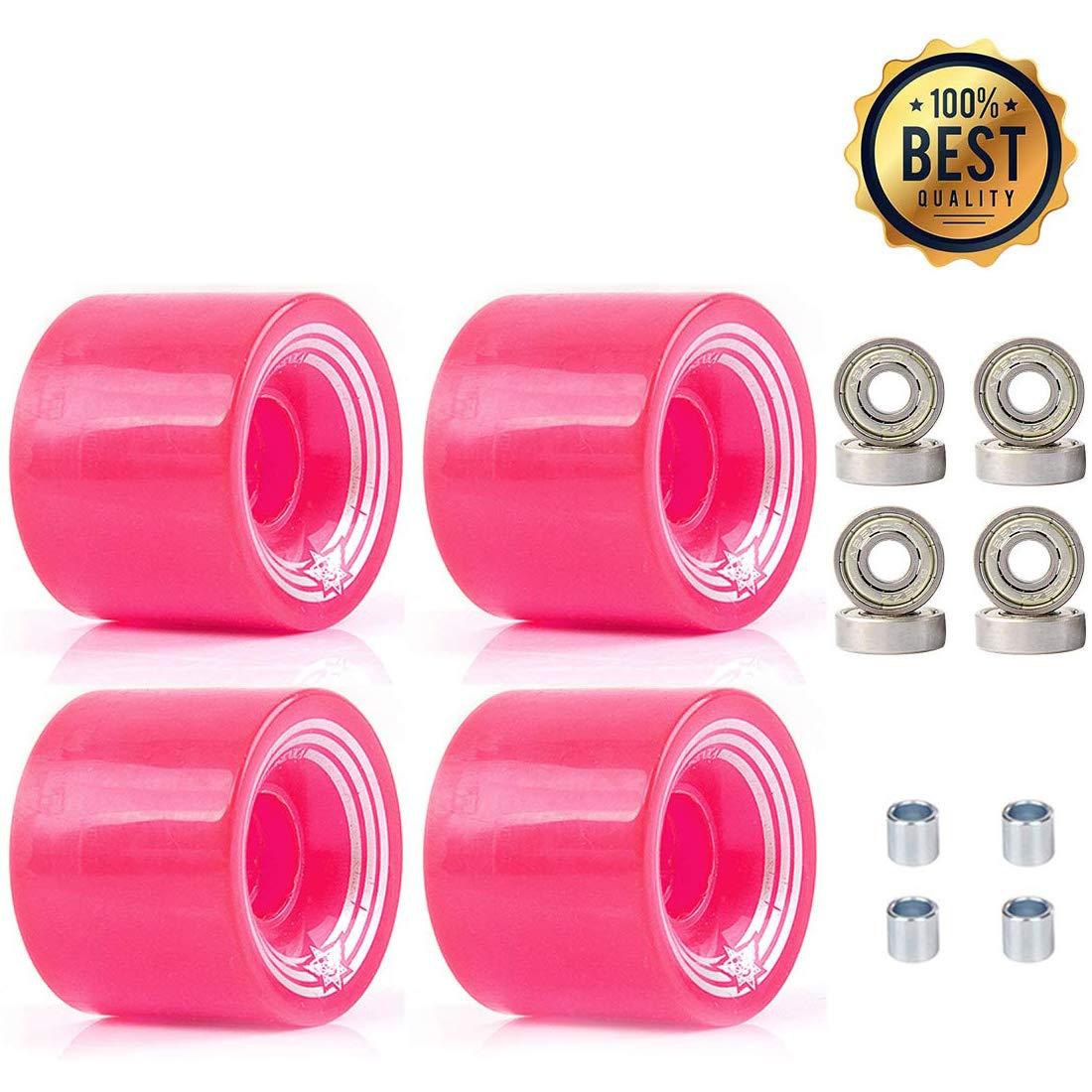 LOSENKA 6045 Fish Skateboard Wheels PU Crusier Skateboard Wheels 4 Pack with Bearing