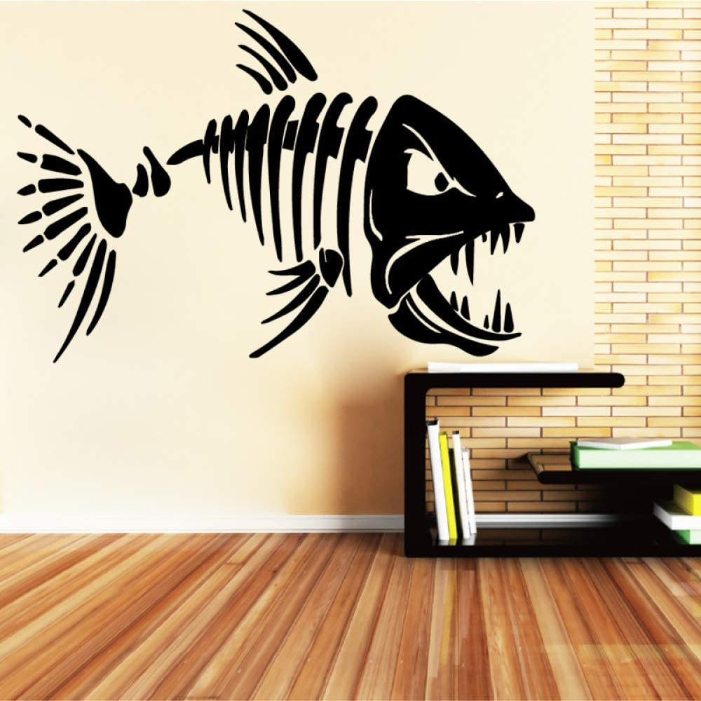 WSYYW Big Teeth Shark Fish Wall Design Stickers for Living Room Art Wall Sticker Removable Home Decoration Accessories A1 58cmX87cm