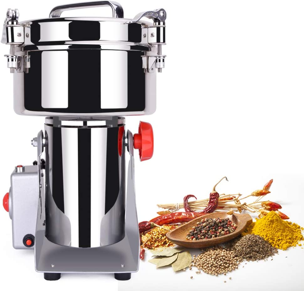 1500g Electric Grain Mill Grinder,Spice Herb Pulverizer for Wheat Fish Sesame Pepper Coffee Rice Corn,110v High Speed Swing Powder Machine (Silver)