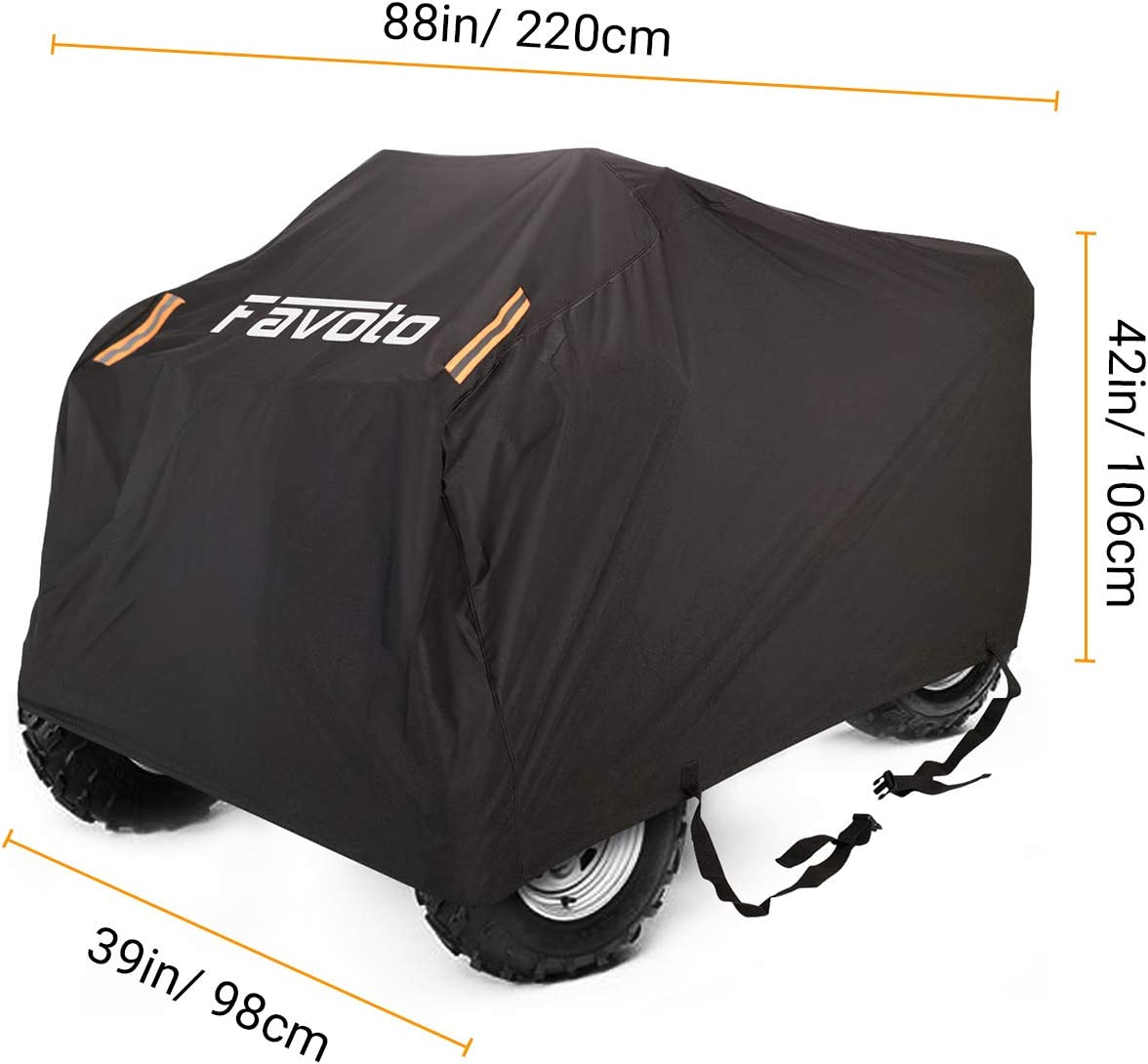 "Favoto Waterproof ATV ATC Cover Quad Bike 4 wheeler Cover Durable Night Reflective Strips with Carrying Bag Dust Sun Wind Rain Leaves Outdoor Protection 88/"" L x 39/"" W x 42/"" H Universal Fit"