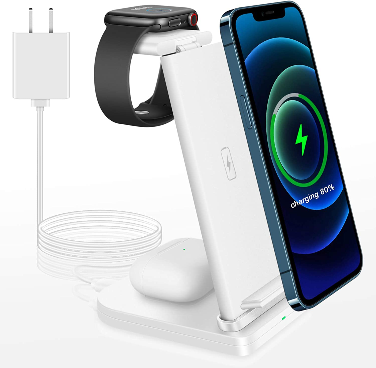 Wireless Charger Stand, 3 in 1 Qi-Certified Wireless Charging Station for AirPods/Airpods 2 Pro iWatch 5/4/3/2,Fast Wireless Charging Stand Dock for iPhone 12/11 Pro/11 Pro Max/SE/XR/XS Max