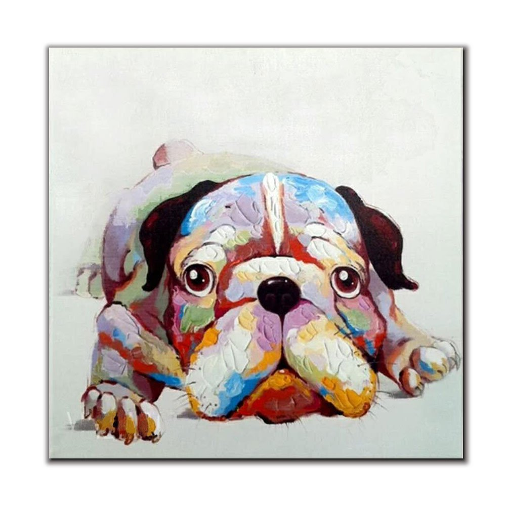 V-inspire Art,24x24 Inch Colorful Animal Painting Lazy Dog Paintings for Living Room Hand Painted Paintings Stretched Ready to Hang