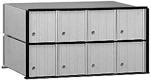 Salsbury Industries 2208 Aluminum Mailbox, 8 Doors, Rack Ladder System, Aluminum with Black Trim