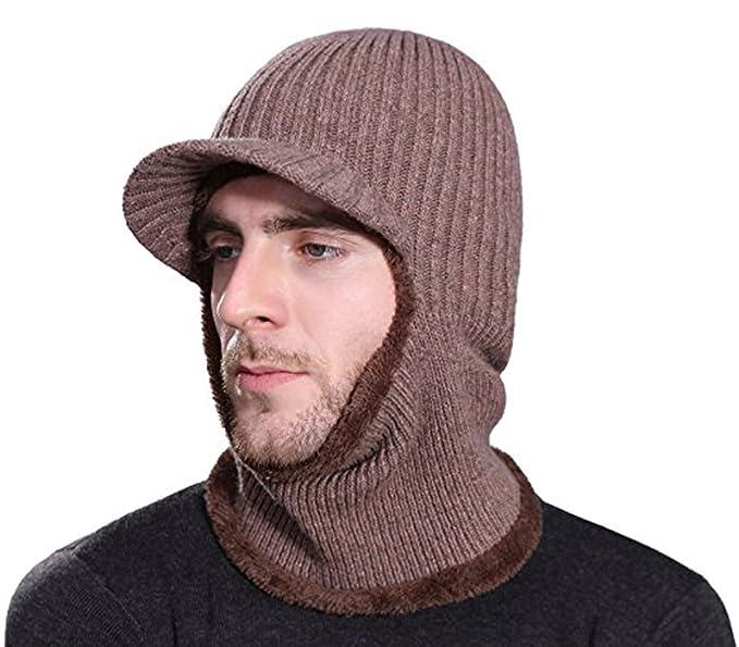 HZTG Winter Face Neck Warmer Hat Tuque Visor Beanie Full Face ... 680037de36c3