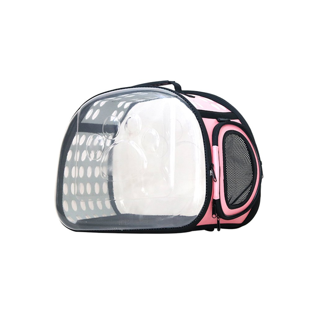 Pet Backpack Pet Outing Package Transparent Cat Bag Space Capsule Folding Bag Outgoing Portable Dog Bag Outdoor Travel Pet Supplies (color   PINK)