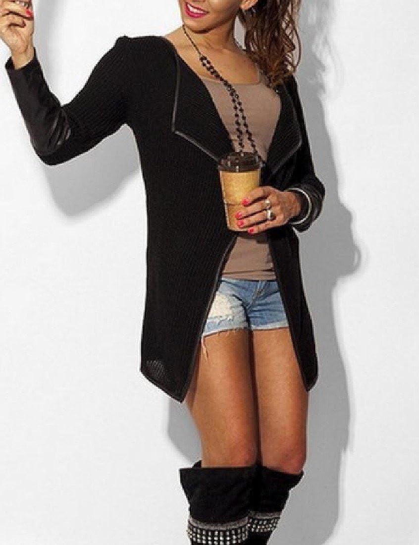 Zago Women Faux Leather PU Long-Sleeve Tops Outwear Lapel Cardigan