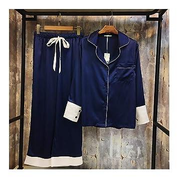 HAOLIEQUAN Pijamas De Seda del Color De Las Mujeres del Golpe De La Primavera Fija La