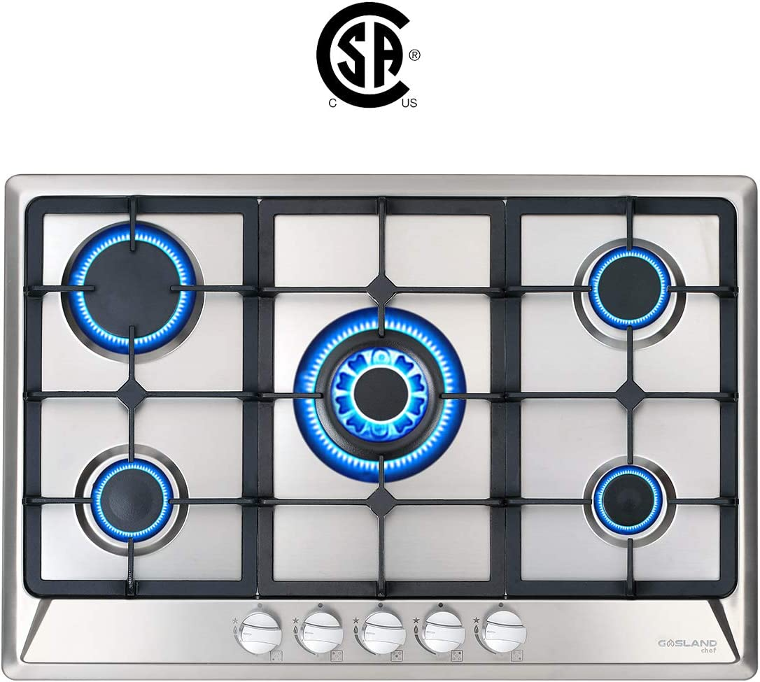 "Gas Cooktop, Gasland Chef GH77SF 30"" 5 Italy Sabaf Burner Built-in Gas Cooktops, Stainless Steel LPG Natural Gas Hob, 30 inch 5-burner Gas Stove Top, CSA Safety Certified, Thermocouple Protection"