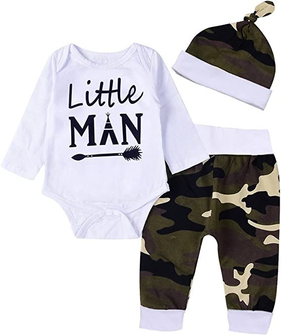 Hat Outfits Camouflage Pants Boys Clothing Sets SHOBDW Infant Baby Girls Fashion Letter Print Long Sleeve Romper Jumpsuit