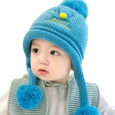 7d1ca5bb602 Boomly Kids Kniting Hat Baby Winter Hat Warm Plus Velvet Beanie Cap with  Pom Pom Suitable for 6-24 Months Baby (Blue)  Amazon.co.uk  Clothing