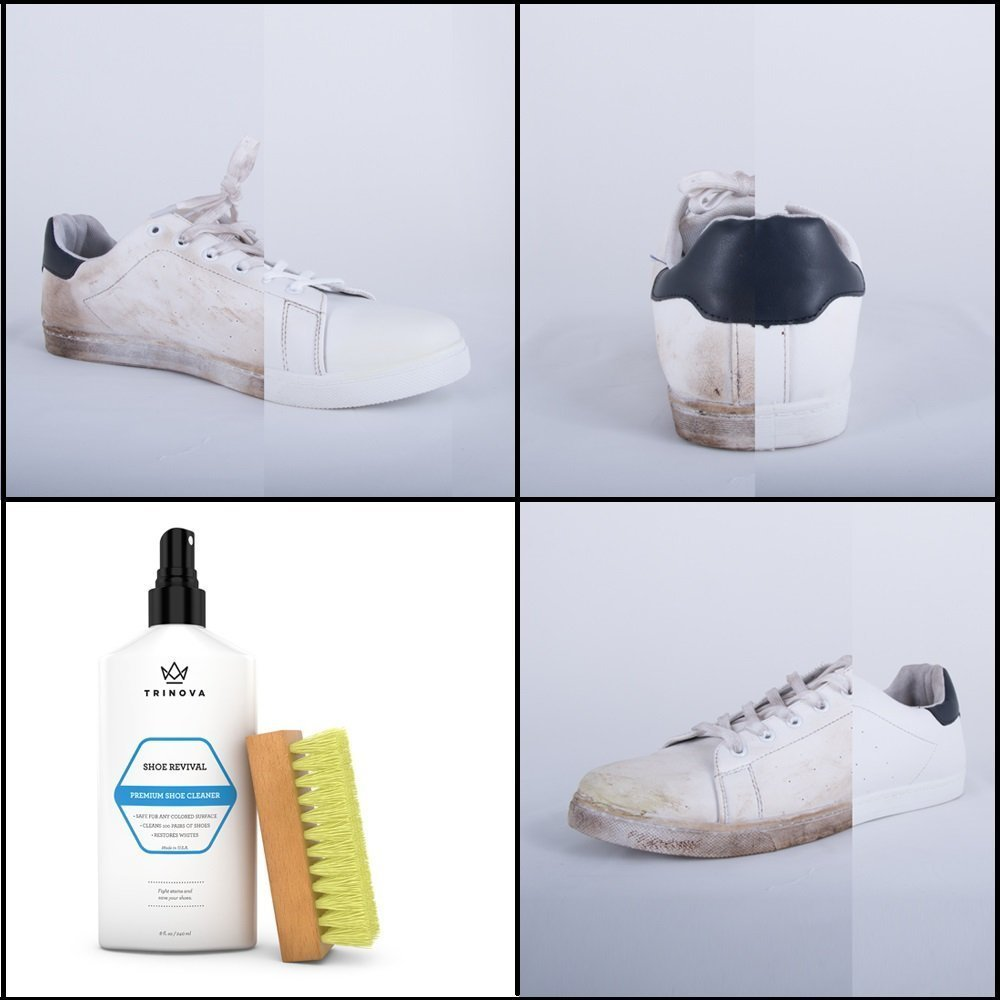 TriNova Shoe Cleaner Kit - Tennis, Sneaker, Boots, More - Premiun Cleaning to Remove Dirt and Stains. Free Brush 8OZ by TriNova (Image #3)