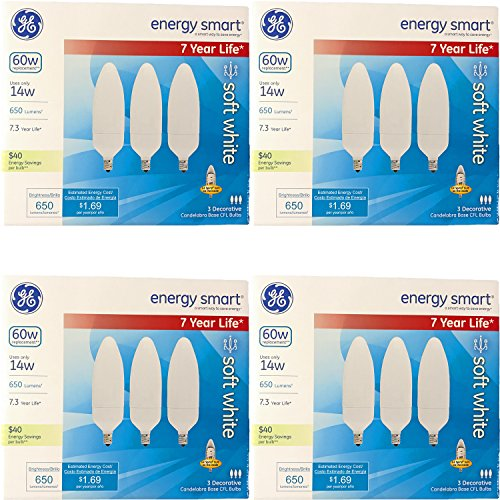 GE Energy-Smart Soft White CFL Candelabra Base, 14W Light Bulbs (60 Watt Equivalent) (14.0 Watt) (12 Bulbs) ()