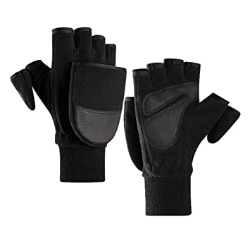 Black Fleece Mens Convertible Winter Gloves Fingerless to Mittens