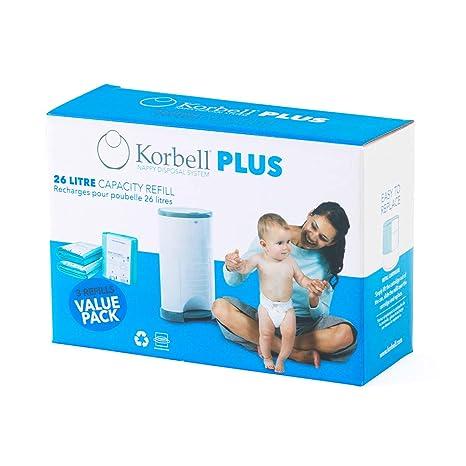 Korbell KR280DR1B - Bolsas de recambio para papelera de pañales, tamaño grande (3 packs)