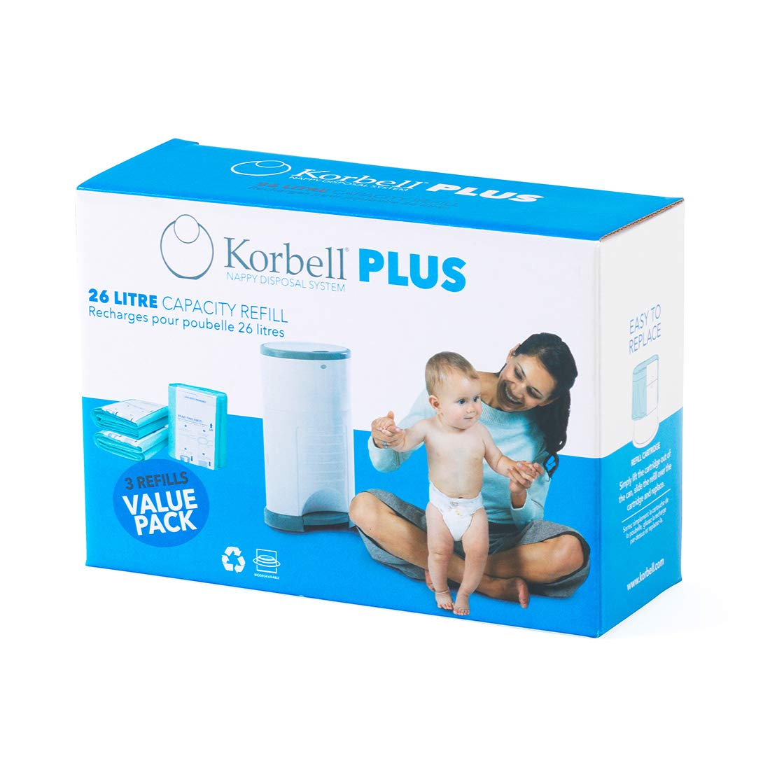 Korbell - KR280DR3B - Poubelles à Couches - Korbell Recharge Plus - 3 Pack product image