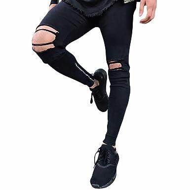 3a675aa7899e Manadlian Herren Biker-Jeans Destroyed Denim Schwarz Jeanshose Dehnbar  Zerrissen Dünn Männer Jeans Hose Zerstört