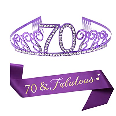 70th Birthday Purple Tiara and Sash, Purple Satin Sash and Crystal Rhinestone Birthday Crown for Happy 70th Birthday Party Supplies Favors Decorations Gifts Cake Topper: Toys & Games