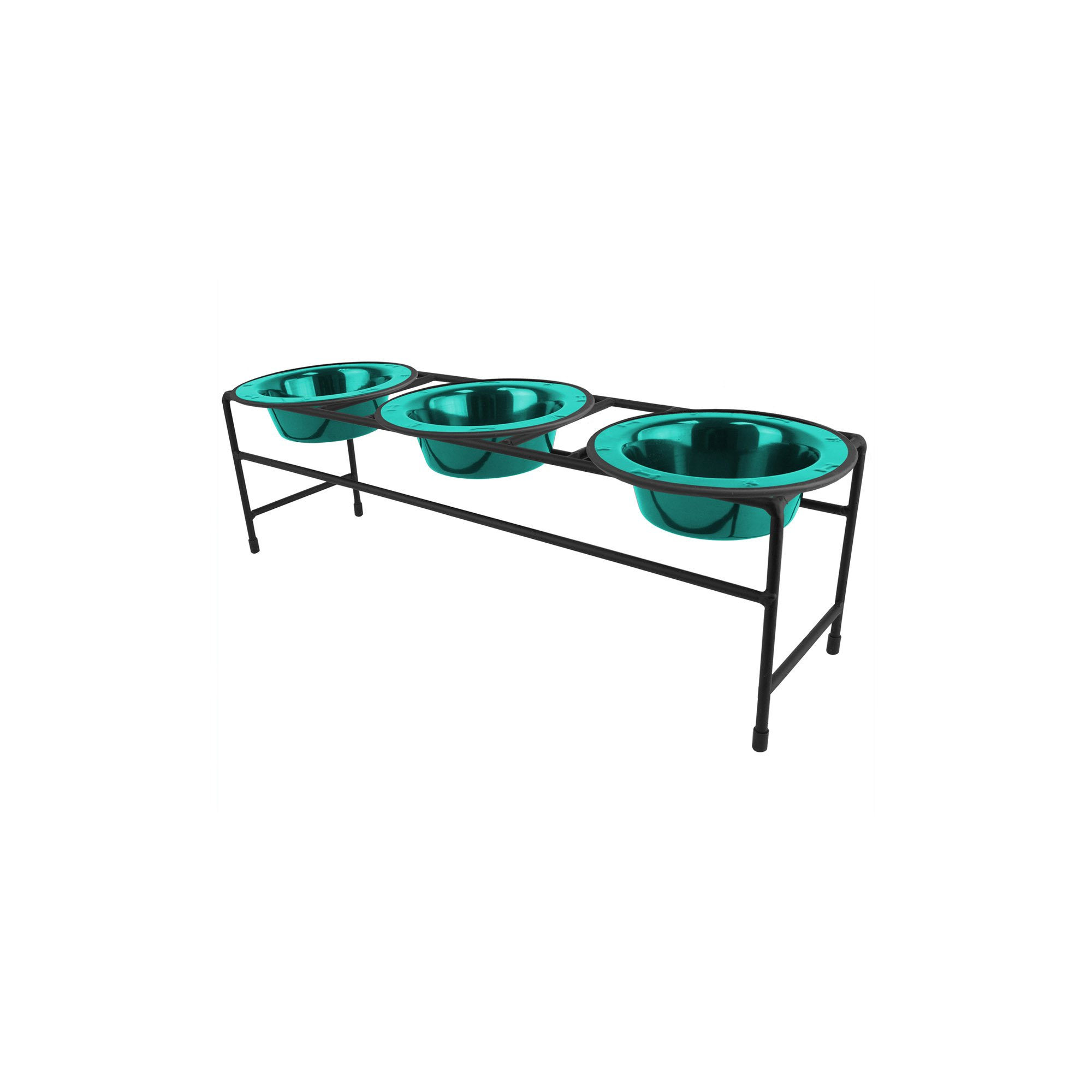 Platinum Pets Triple Diner Feeder with Stainless Steel Cat/Puppy Bowls, .75 cup/6 oz, Caribbean Teal