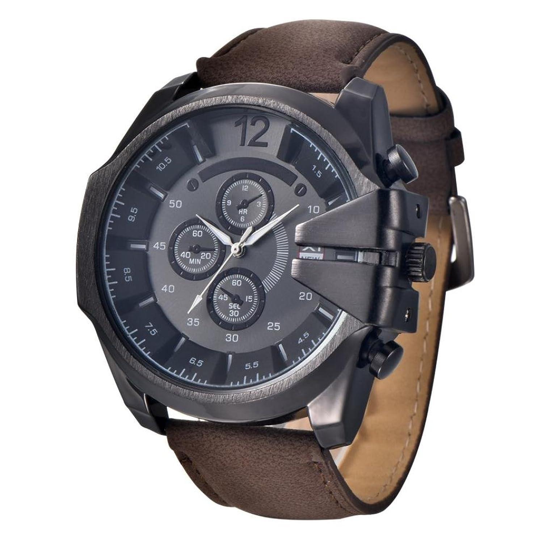 メンズ腕時計、Tomin Coolメンズ腕時計アナログスポーツステンレススチールCaseクオーツDialレザー腕時計ギフト ブラック B072L7Z8LS