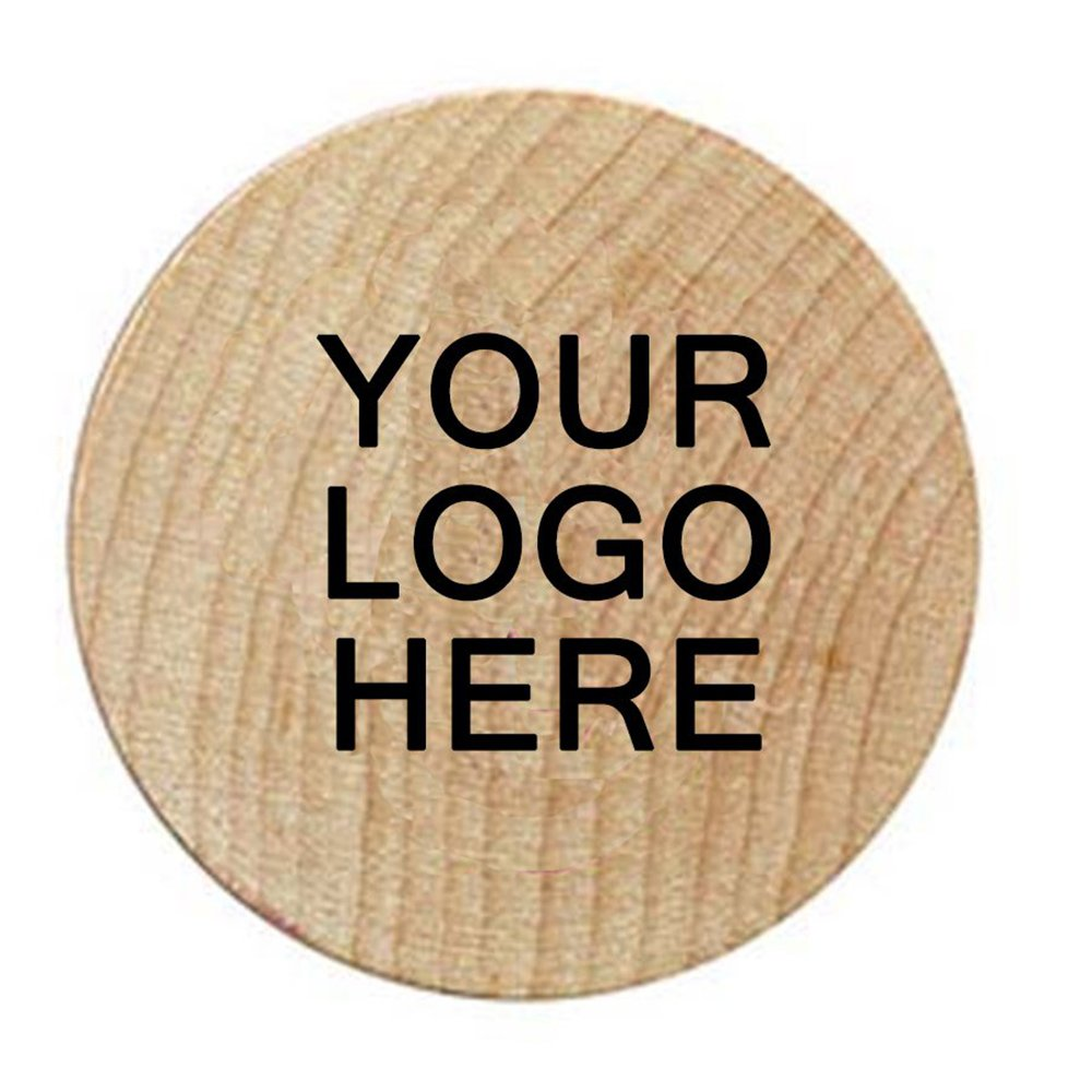 Wooden Nickels W/ TUIT Back Design - 1,000 Quantity - PROMOTIONAL PRODUCT / BRANDED / BULK / CUSTOMIZED W/ YOUR LOGO