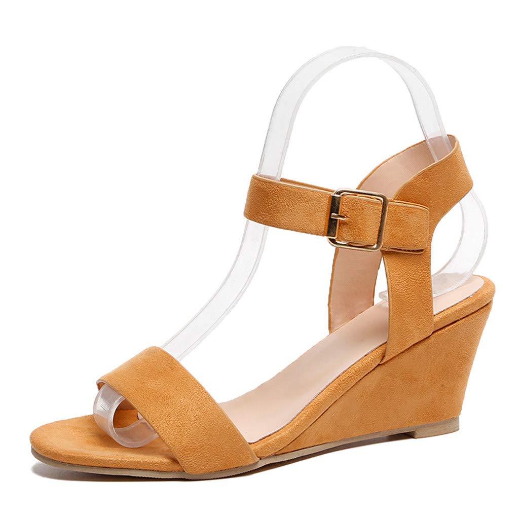 SSYUNO Wedges Shoes for Women Sandals Espadrille Ankle Strap Open Toe Summer Comfy Flatform Dress Shoes