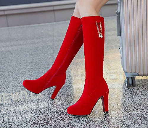 Heel Rhinestones High Womens Boots Carolbar Red Knee High Dress Chains Zip tqZx7w4X