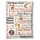 Have Faith Boutique Personalized Baby Blanket with Name- 30''x40''- Velveteen Fleece - Woodland Animals