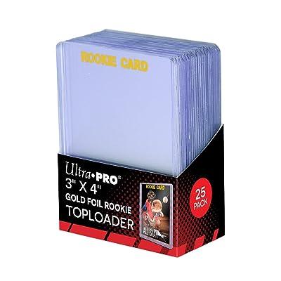 2 Ultra Pro Regular Top Loader Pack W/gold Rookie Foil Print 81180 - 25 Toploaders Per Pack (50 Total) - Standard Size Baseball, Basketball, Football, Hockey: Sports & Outdoors